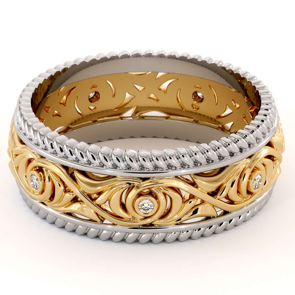 Diamond Wedding Band 14K Two Tone Gold Wedding Band Unique Art Deco Mens Wedding Ring