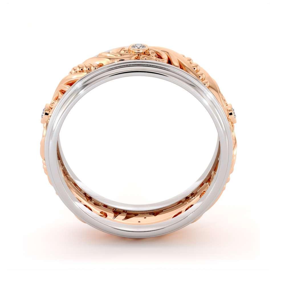 Unique Mens Wedding Band Diamonds Wedding Ring 14K Rose & White Gold Wedding Band