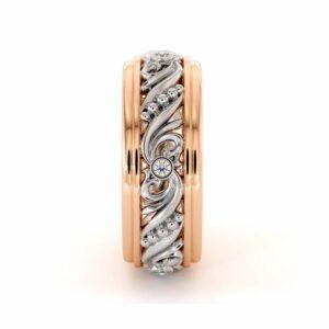 Unique Mens Wedding Band Diamonds Wedding Ring 14K White & Rose Gold Wedding Band
