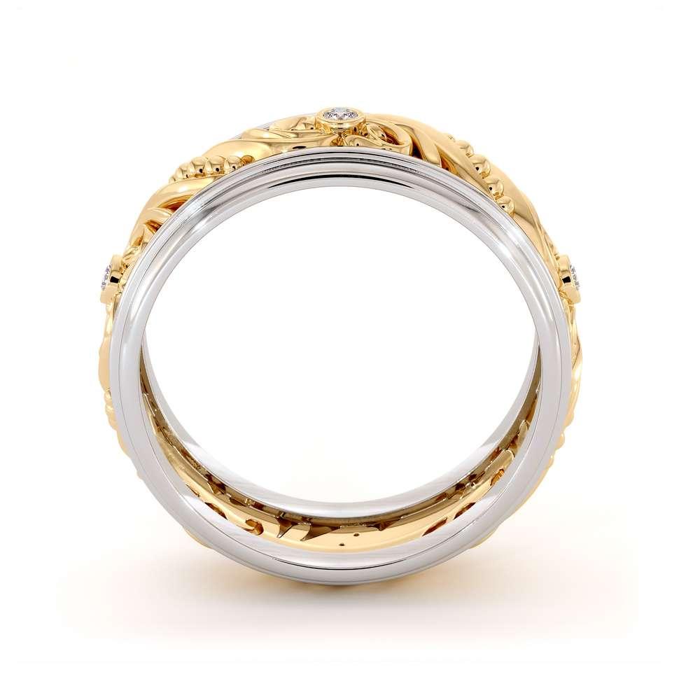 Unique Mens Wedding Band Diamonds Wedding Ring 14K Yellow & White Gold Wedding Band