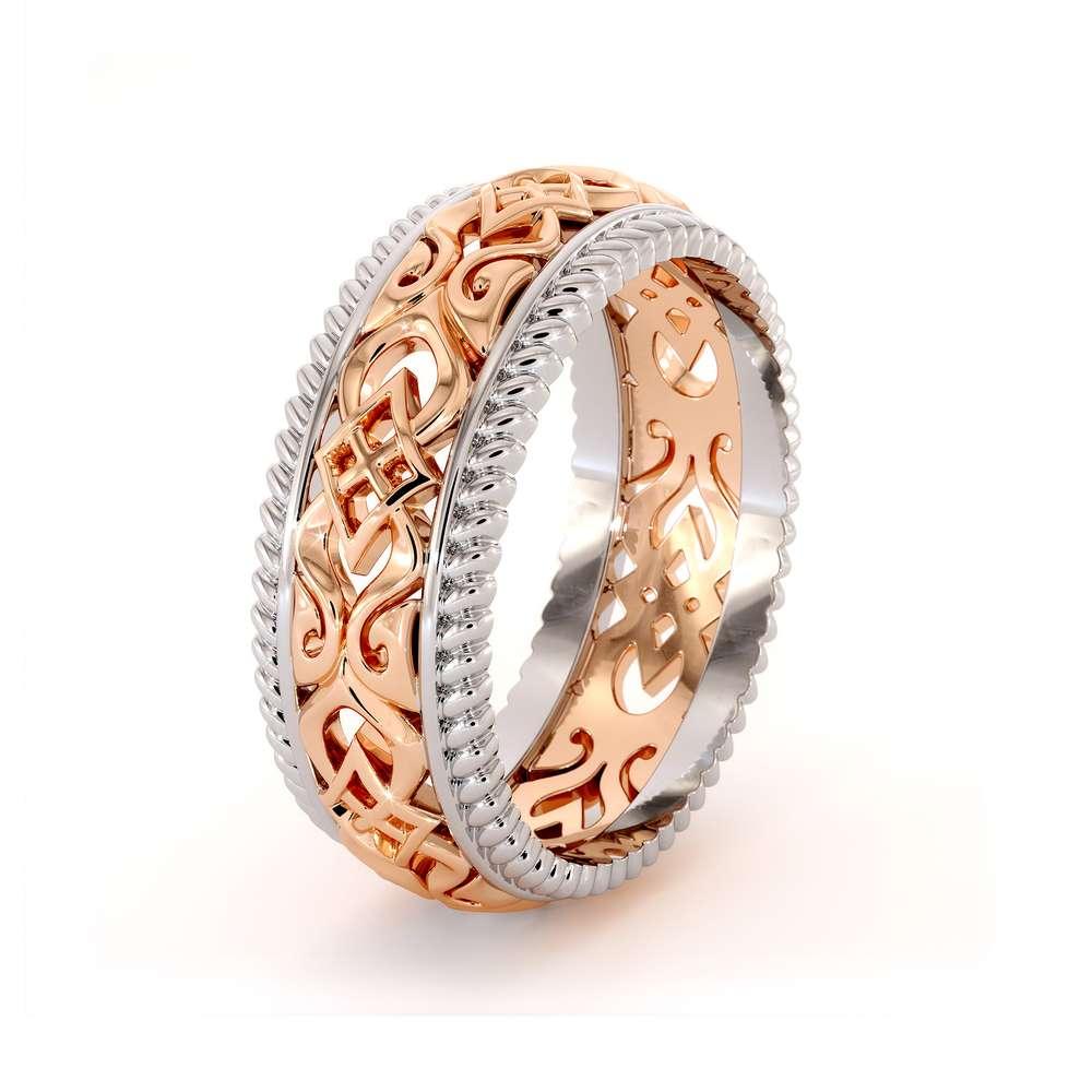 Vintage Men's Wedding Band-Men Wedding Band Rose & White Gold-14K Two Tone Wedding Ring