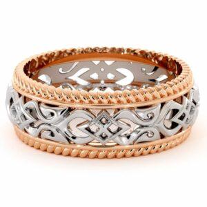 Vintage Men's Wedding Band Men Wedding Band Rose & White Gold-14K Two Tone Wedding Ring