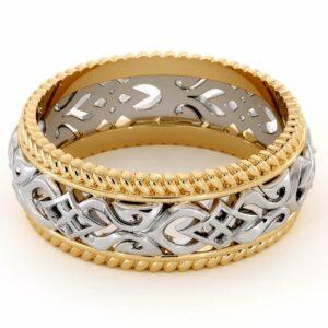 Vintage Men's Wedding Band-Men Wedding Band Yellow & White Gold-14K Two Tone Wedding Ring
