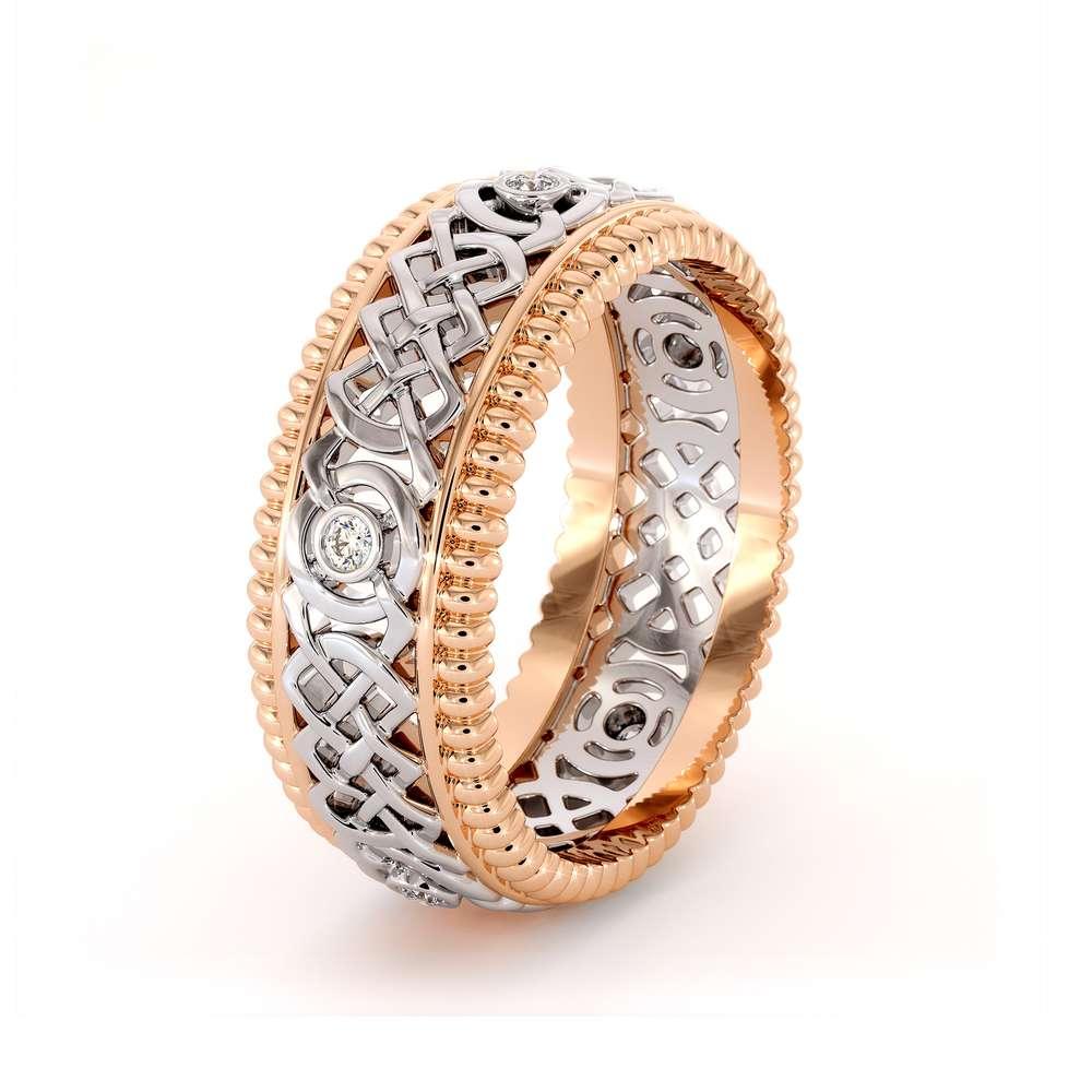 14K Two Tone Gold Ring-men's Wedding Band-Diamonds Ring-Men Wedding Ring-Rose White Ring