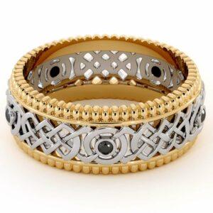 14K Two Tone Gold Ring-men's Wedding Band-Black Diamonds Ring-Men Wedding Ring-Yellow White Ring