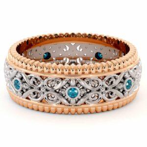 Blue Diamonds Wedding Band For Men-14K Two Tone Gold Wedding Band-Art Deco Mens Wedding Band