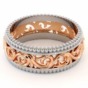 Filigree Men's Wedding Ring-Mens Wedding Band Rose & White Gold-14K Two Tone Wedding Ring