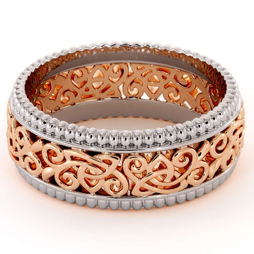 14K Two Tone Gold Wedding Band-Men Wedding rings-Art Deco Ring