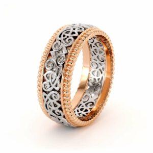 Men's 14K Two Tone Gold Wedding Band-Men Wedding rings-Art Deco Mens Ring