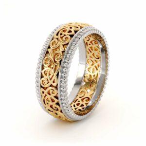 Men's 14K Two Tone Gold Wedding Band-Men Wedding rings Art Deco Mens Ring