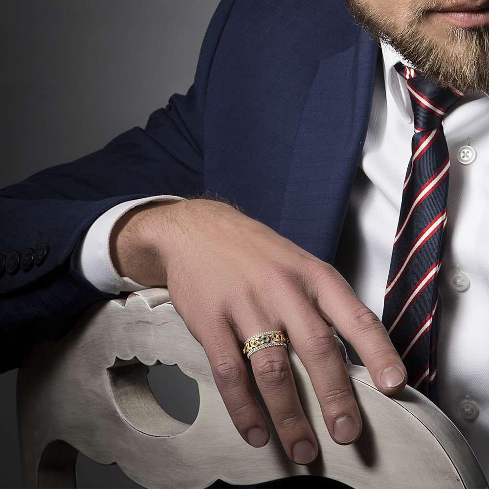 Men Eternity Wedding Ring-Blue Diamonds Wedding Band-Fine Jewelry-14K Two Tone Gold Wedding Band