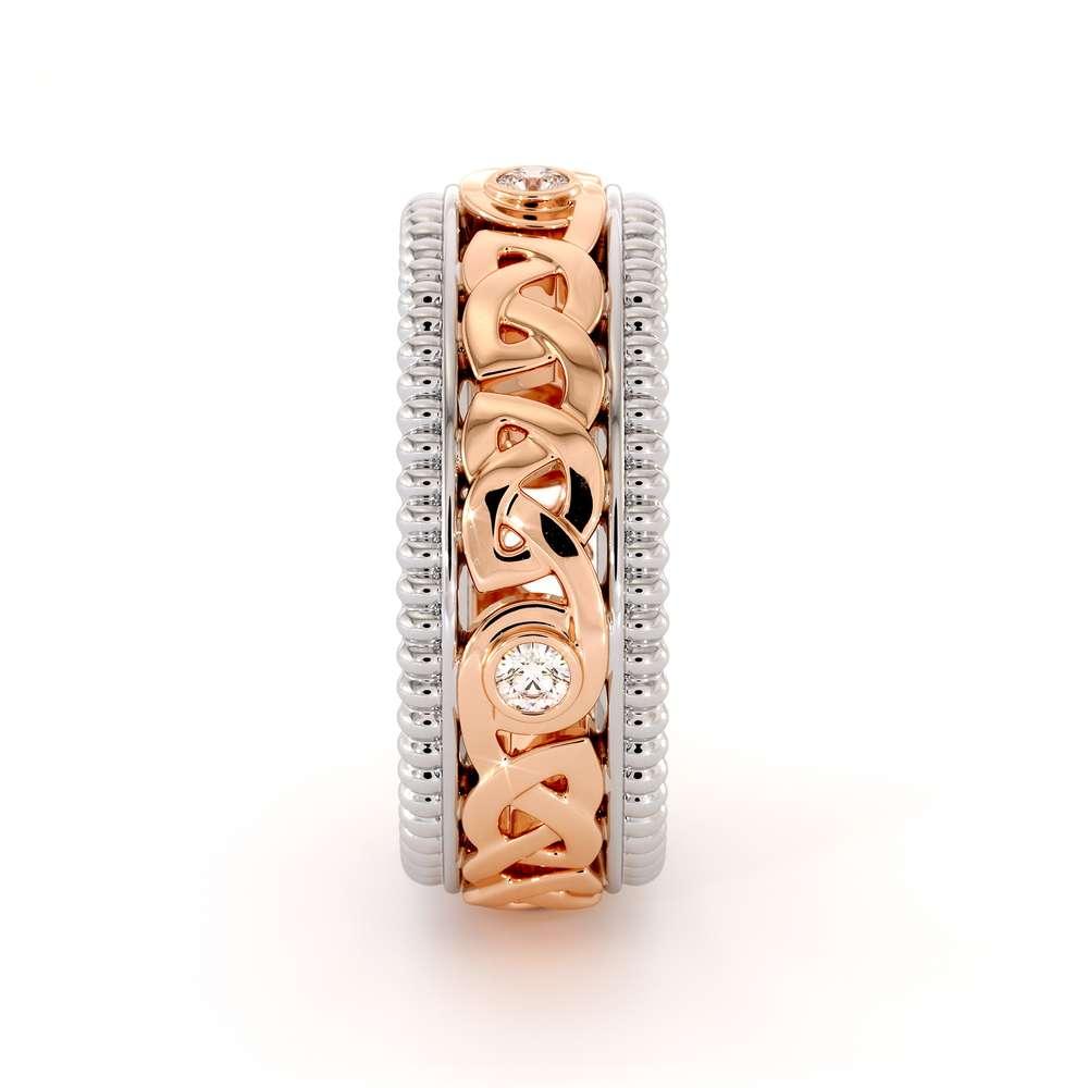 Mens Eternity Wedding Ring-Men Wedding Band-Fine Jewelry-14K Two Tone Gold Wedding Band