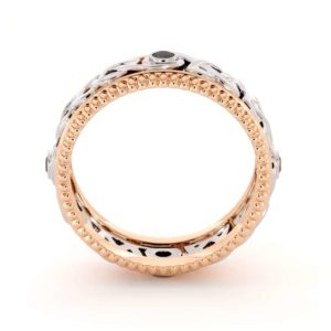 Mens Eternity Wedding Ring-Black Diamonds Wedding Band-Fine Jewelry-14K Two Tone Gold Wedding Band