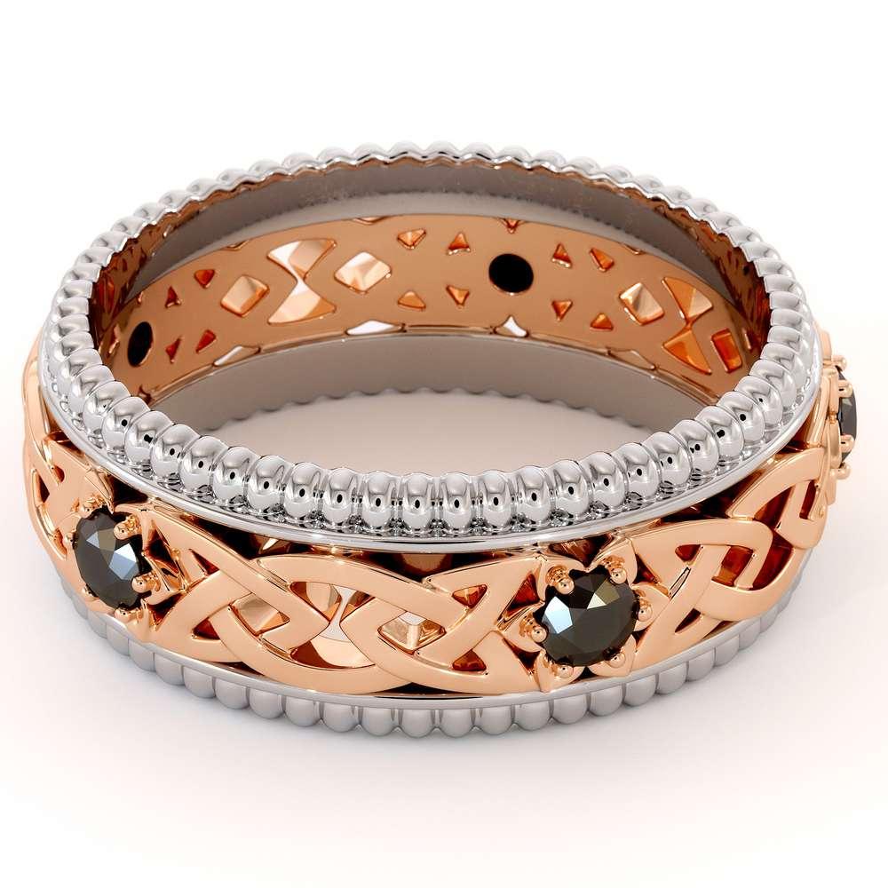 Mens Wedding Band-Two Tone Diamond Band-Filigree 14K Rose and White Gold-Fine Jewelry
