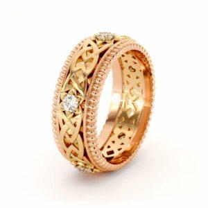 Mens Wedding Band-14K Two Tone Diamonds Band-Fine Jewelry-Filigree Rose and Yellow Gold