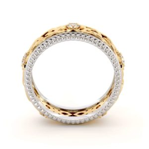 Men Wedding Band-14K Two Tone Mens Band-Fine Jewelry-Filigree White and Yellow Gold Ring