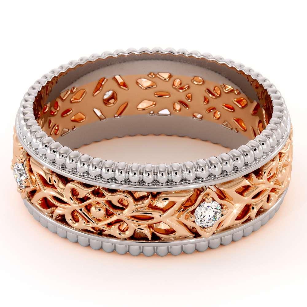 Unique Wedding Band Mens Wedding Band Rose & White Gold Wedding Ring