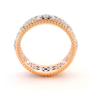 Unique Wedding Band Men Wedding Band White & Rose Gold Wedding Ring
