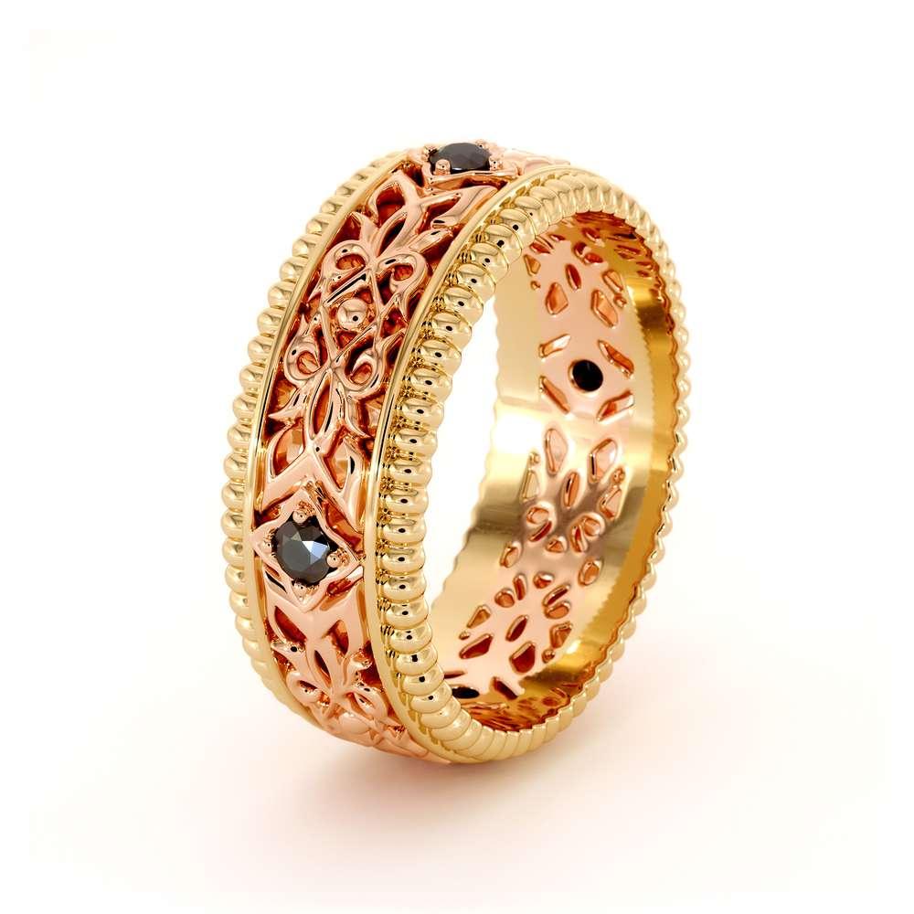 Unique Wedding Men Band- Wedding Band Rose & Yellow Gold Wedding Ring