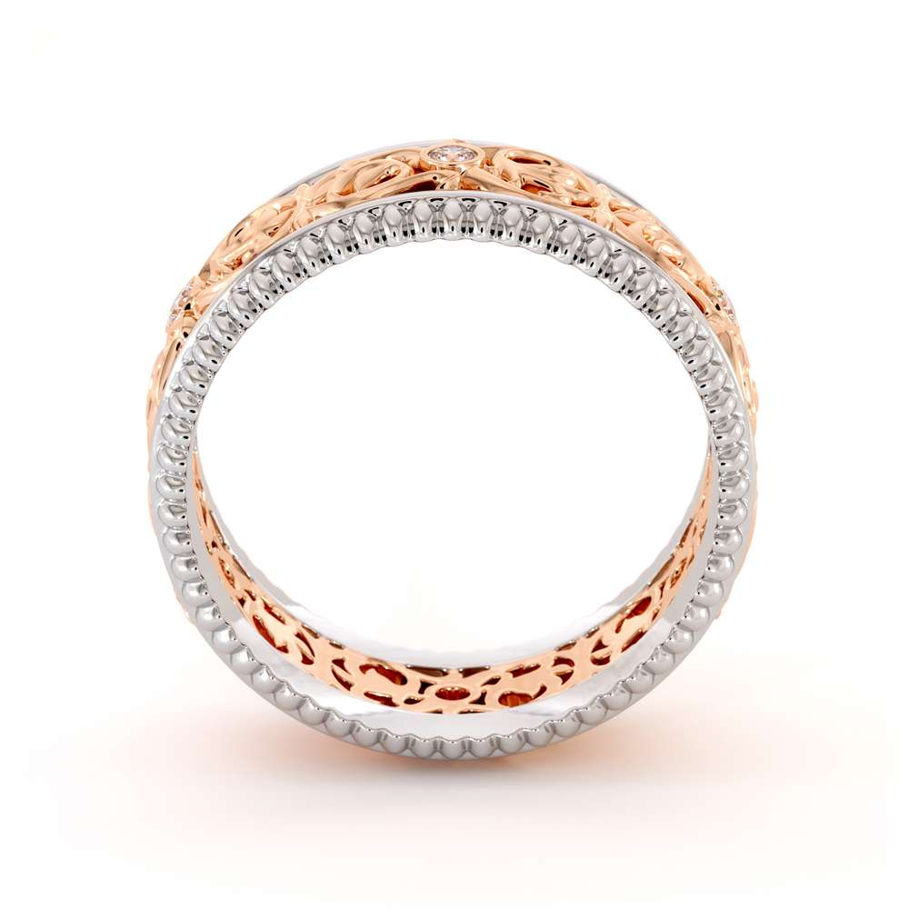 Mens Eternity Wedding Band-Men Wedding Band-14K Two Tone Gold Wedding Ring