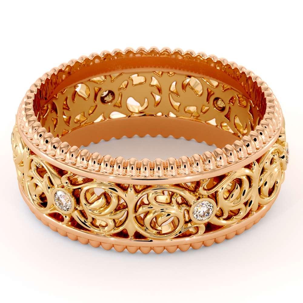 Eternity Men Wedding Band-Men Wedding ring-14K Two Tone Gold Wedding Ring