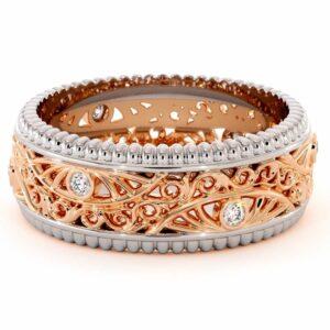 Diamond Wedding Band Unique Mens Wedding Band-14K Two Tone Gold Wedding Ring