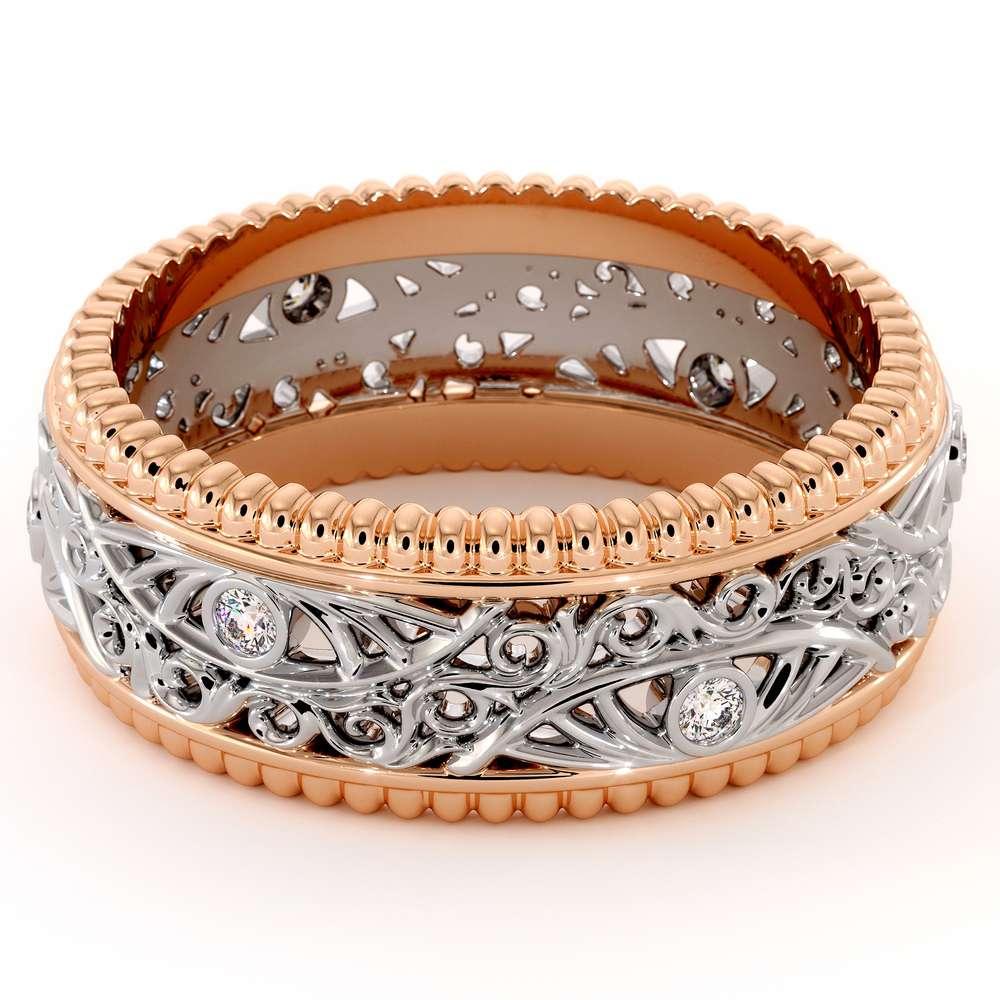 Men Wedding Band-Men Diamond Wedding Ring-14K Two Tone Gold Wedding Band