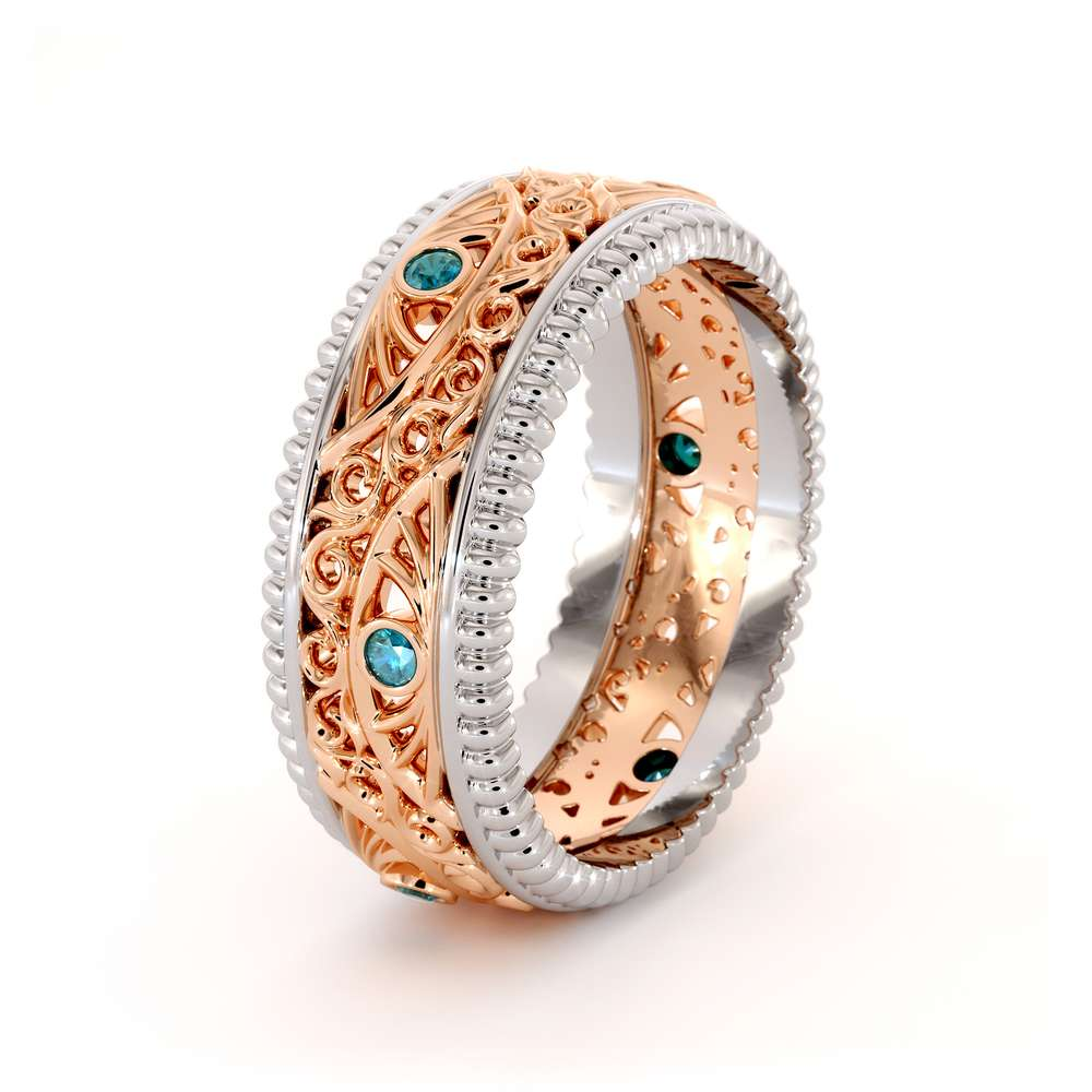 Men Diamonds Wedding Band-Mens Diamond Ring-14K Two Tone Gold Wedding Band