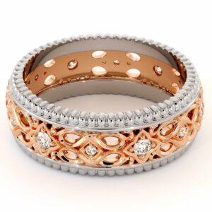 Diamond Wedding Band 14K Two Tone Gold Wedding Ring Unique Art Deco Mens Wedding Band