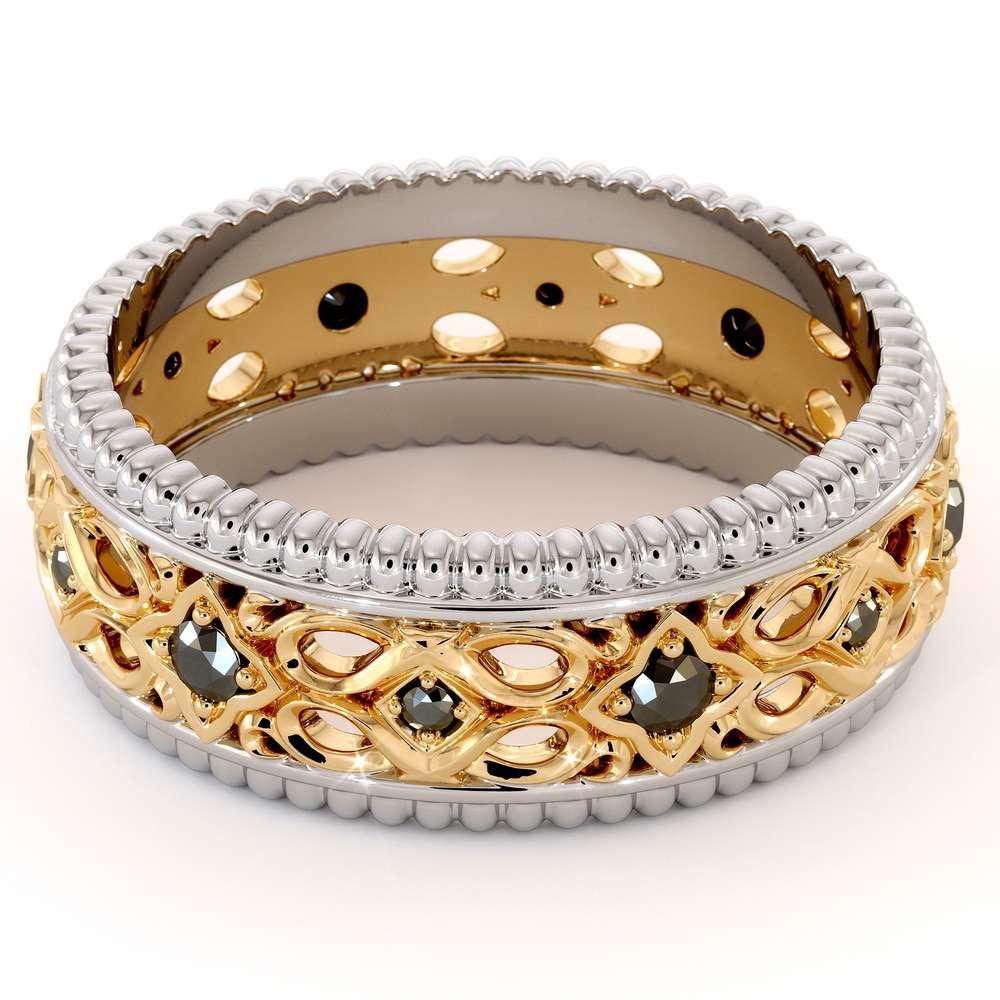 Unique Filigree Wedding Band-Black Diamonds Band-14K Two Tone Gold Ring-Mens Wedding Band