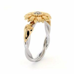 Unique Engagement Ring Natural Diamond 14 Karat Gold Ring Sunflower Engagement Ring