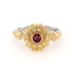 Unique Engagement Ring Natural Ruby 14K Gold Ring Sunflower Engagement Ring