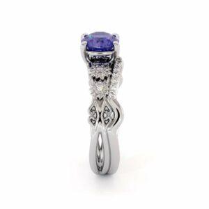 Tanzanite Engagement Ring 14K White Gold Wedding Ring Bridal Set