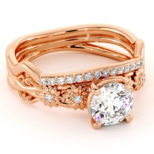 Rose Gold Moissanite Ring Wedding Set Flower Rings By Camellia Jewelry