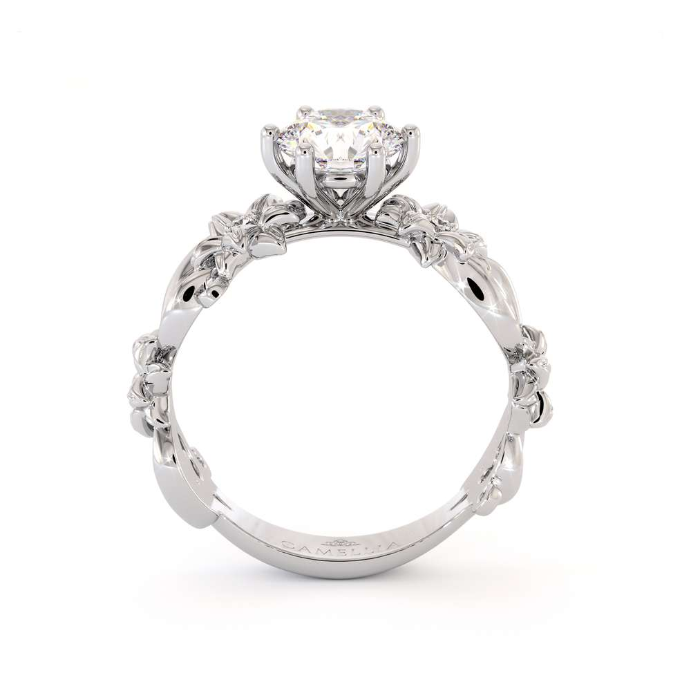 Moissanite Engagement Ring 14K White Gold Ring Unique Flower Ring