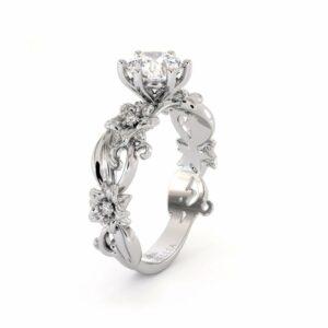 Moissanite Engagement Ring 14K White Gold Ring Unique Flower Ring