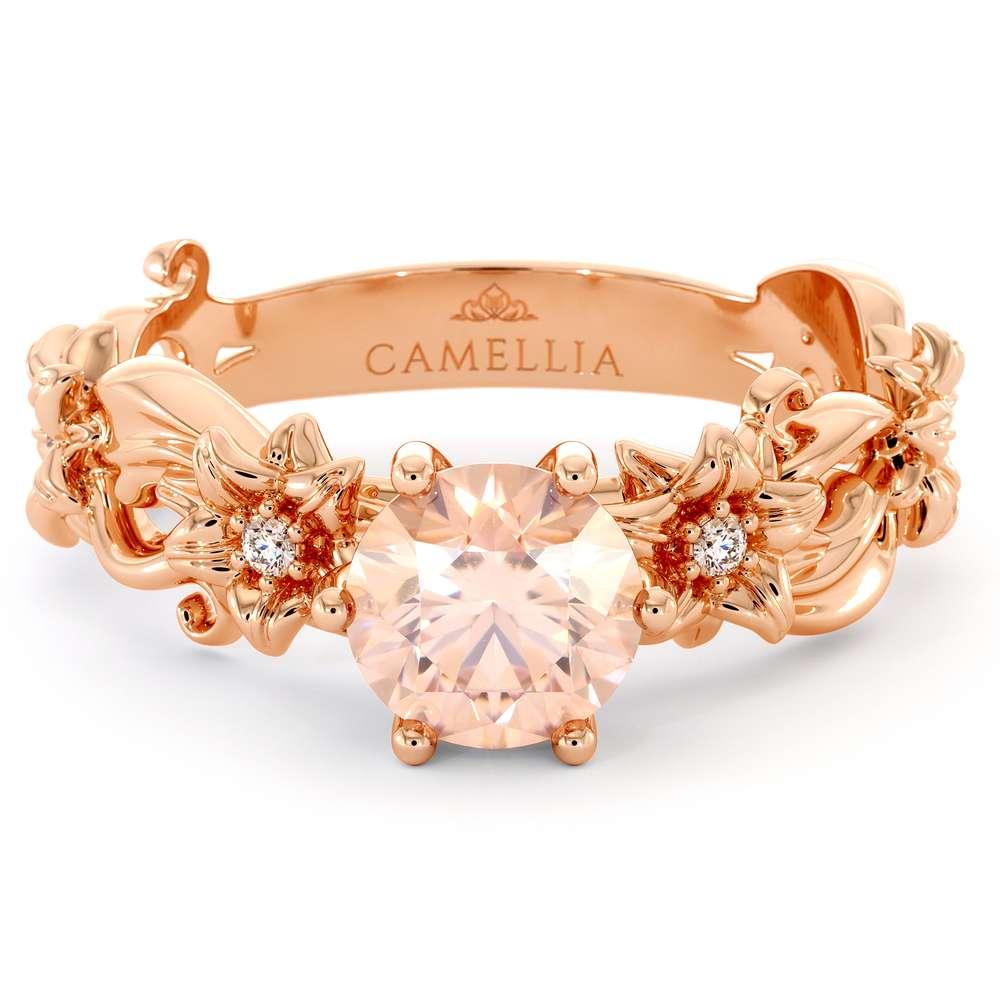 Morganite Engagement Ring 14K Rose Gold Ring Unique Flower Ring