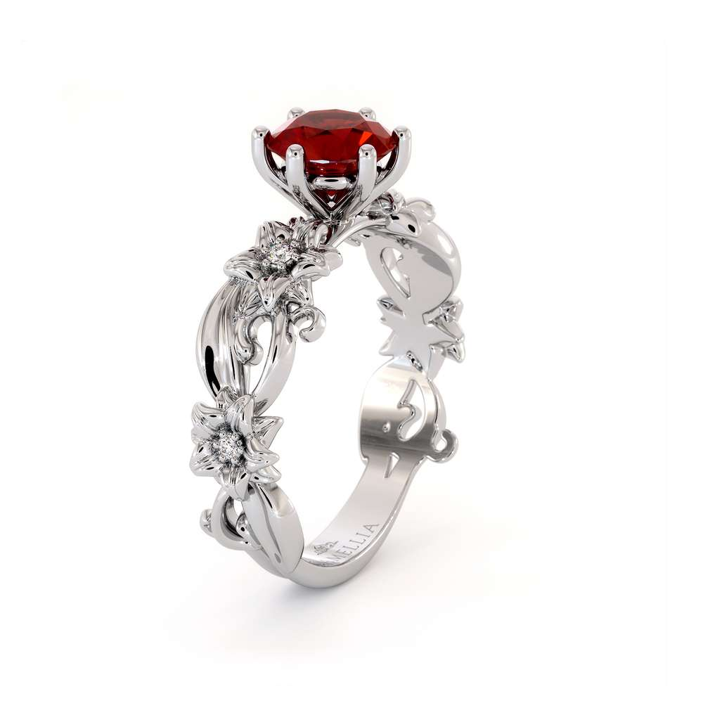 Ruby Engagement Ring 14K White Gold Ring Unique Flower Ring