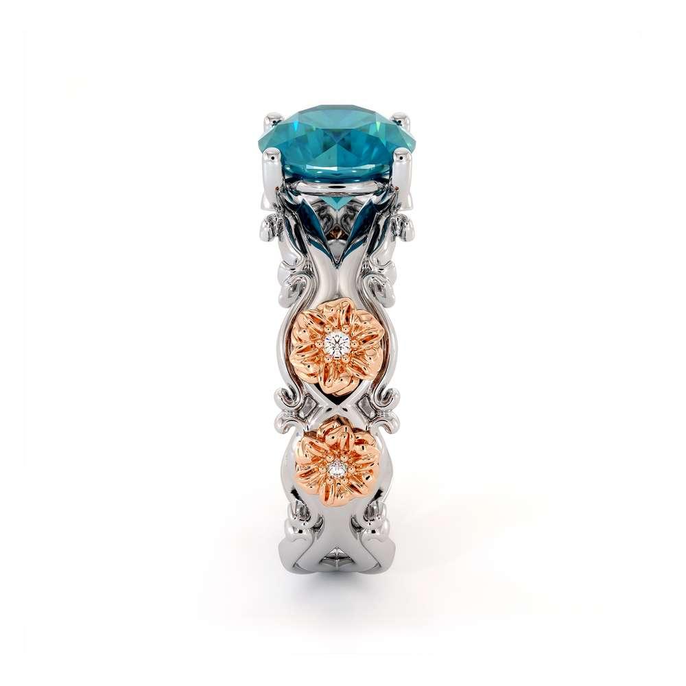 Blue Topaz Engagement Ring 14K White & Rose Gold Ring Leaf Engagement Ring
