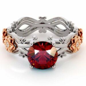 Ruby Engagement Ring 14K White & Rose Gold Ring Leaf Engagement Ring