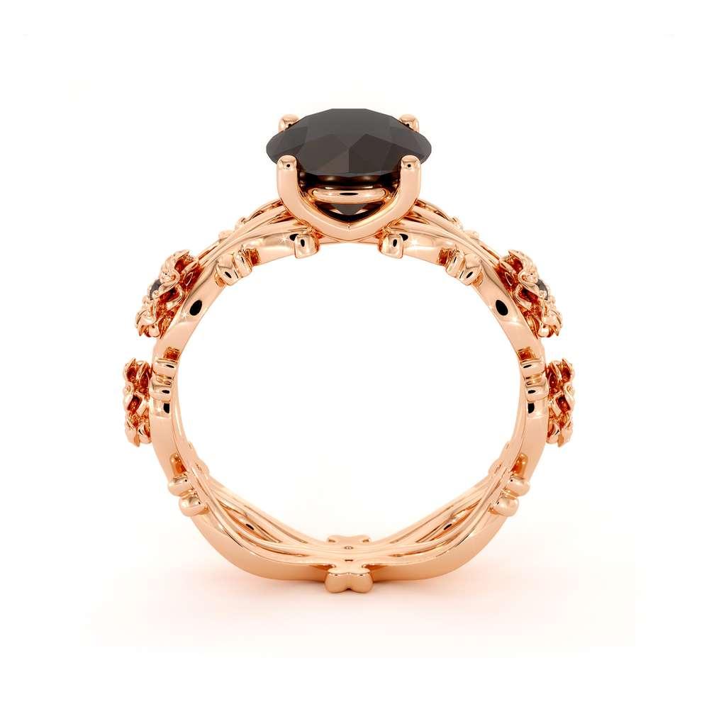 Black Diamond Engagement Ring 14K Rose Gold Ring Leaf Engagement Ring