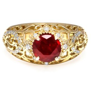 Ruby Unique Engagement Ring 18K Yellow Gold Filigree Ring Unique Diamonds Engagement Ring
