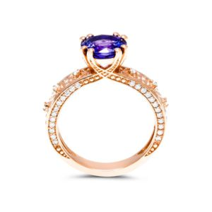 Unique Tanzanite Engagement Ring Natural Tanzanite 14K Rose Gold Engagement Ring