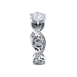 Moissanite Engagement Ring 14K White Gold Swirl Ring Camellia Jewelry Designs