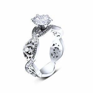 Moissanite Engagement Ring 14K White Gold Swirl Ring Camellia Jewelry Designs