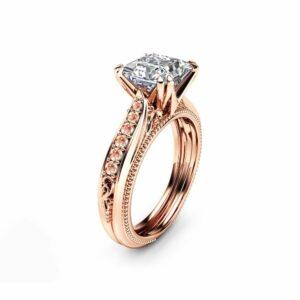 Moissanite Engagement Ring 14K Rose Gold Ring Princess Moissanite with Pink Sapphires
