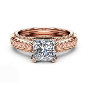 Moissanite Engagement Ring 14K Rose Gold Ring Princess Moissanite with Pink Sapphires