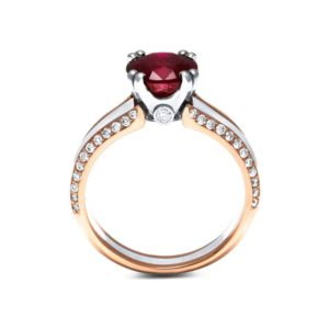 Ruby Engagement Ring Unique 14K Two Tone Gold Ring Engagement Ruby Ring