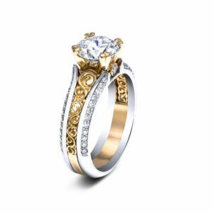 Moissanite Engagement Ring 14K Two Tone Gold Ring Moissanite Unique Vintage Engagement Ring