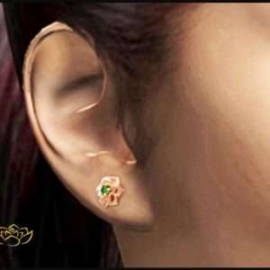14K Rose Gold Natural Green Emerald Studs Earrings